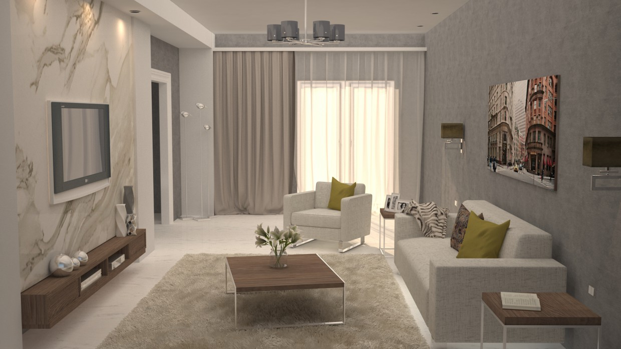 Design of the living room in 3d max vray 3.0 image