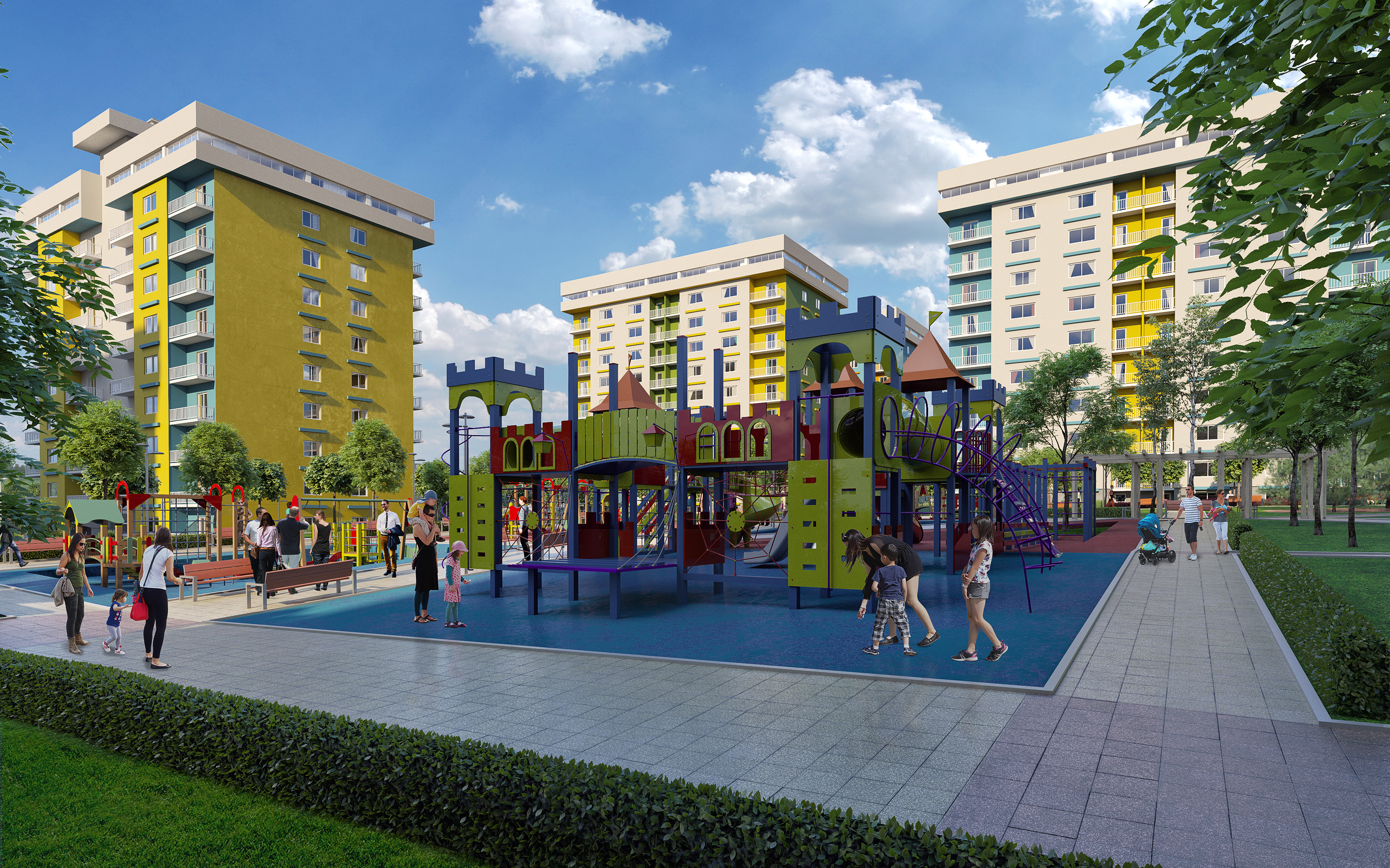 """Residential complex """"First quarter"""" in 3d max corona render image"""