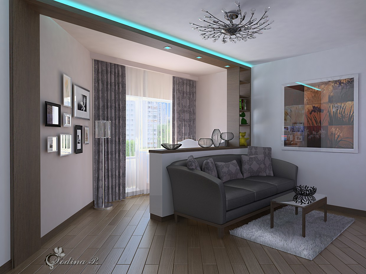 Studio apartment. Living room. 2 in 3d max vray image