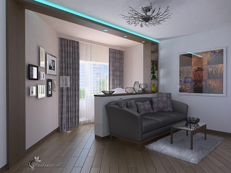 Однокімнатна квартира. Житлова кімната. 2 в 3d max vray зображення