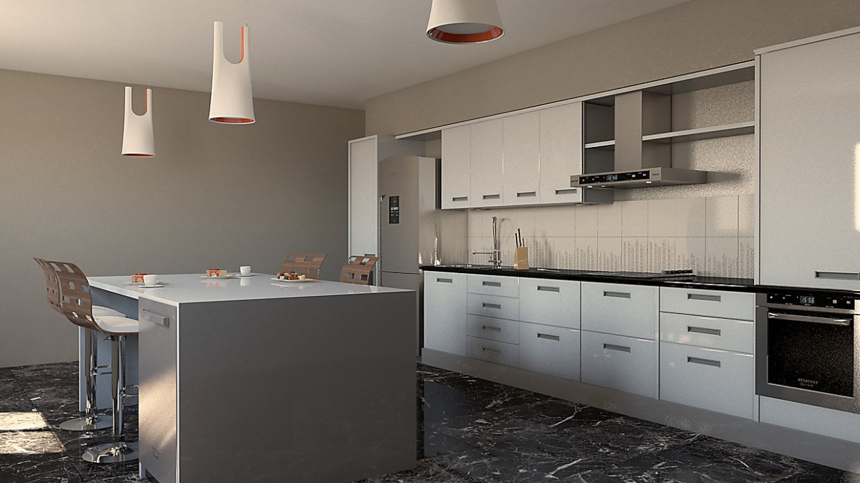 kitchen in 3d max mental ray image