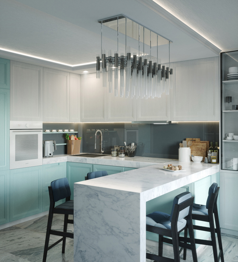 kitchen interior in 3d max corona render image