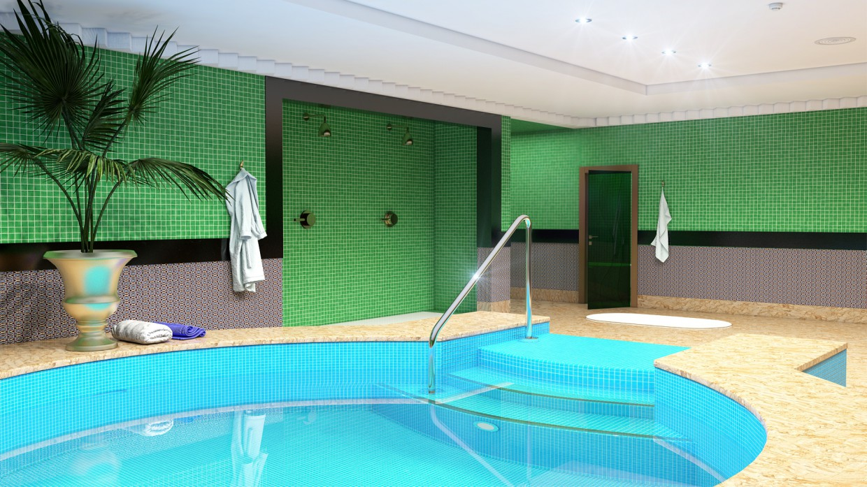3d visualization of the project in the Pool Maya, render vray 3.0 of temporalex