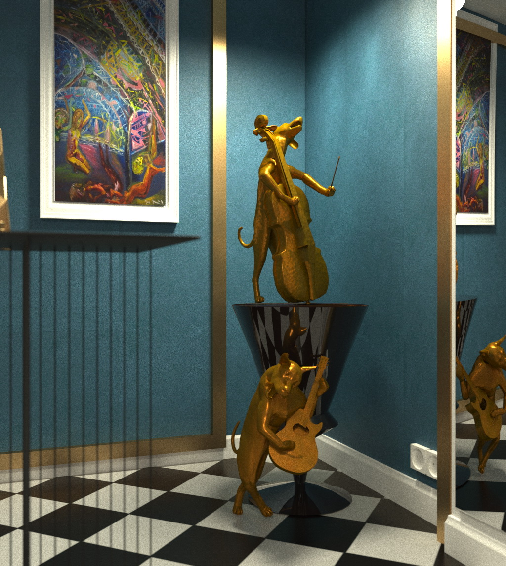 """Mademoiselle, dog band and Saraband"" in Cinema 4d corona render image"