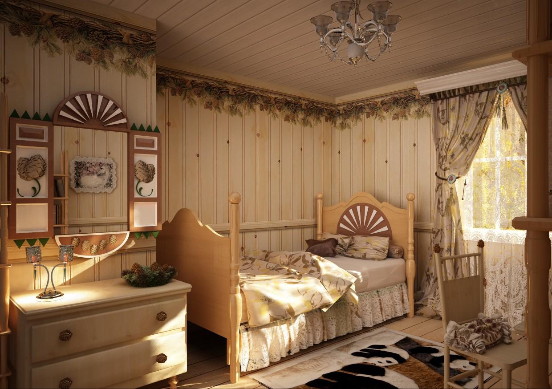 Set of furniture for 'Karelian pine' in Cinema 4d vray image
