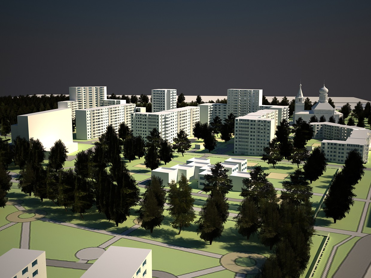 Project of reconstruction of the neighborhood in 3d max vray image