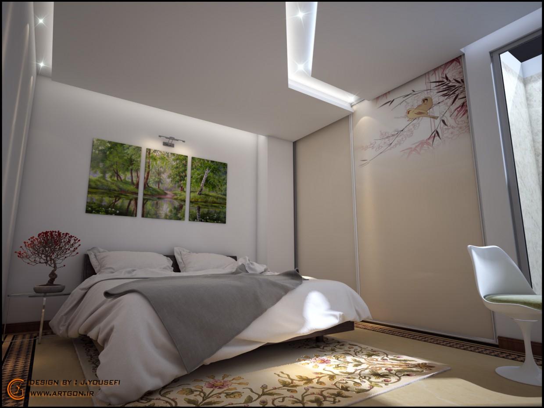 Bedroom design in 3d max vray image