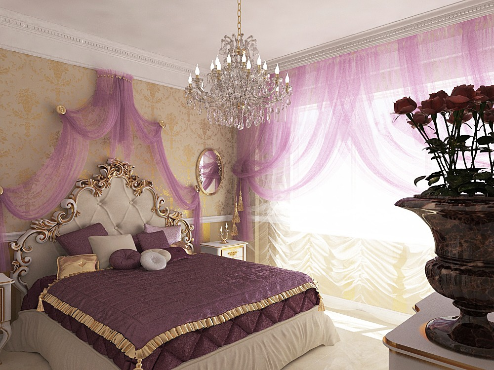 3d visualization of the project in the Bedroom 3d max, render vray of Alyona