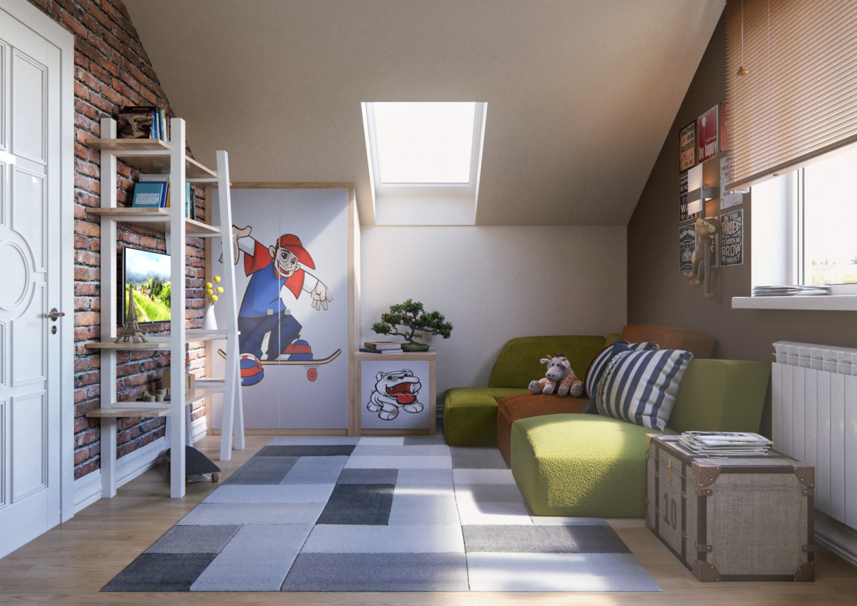 Kid's bedroom in 3d max corona render image