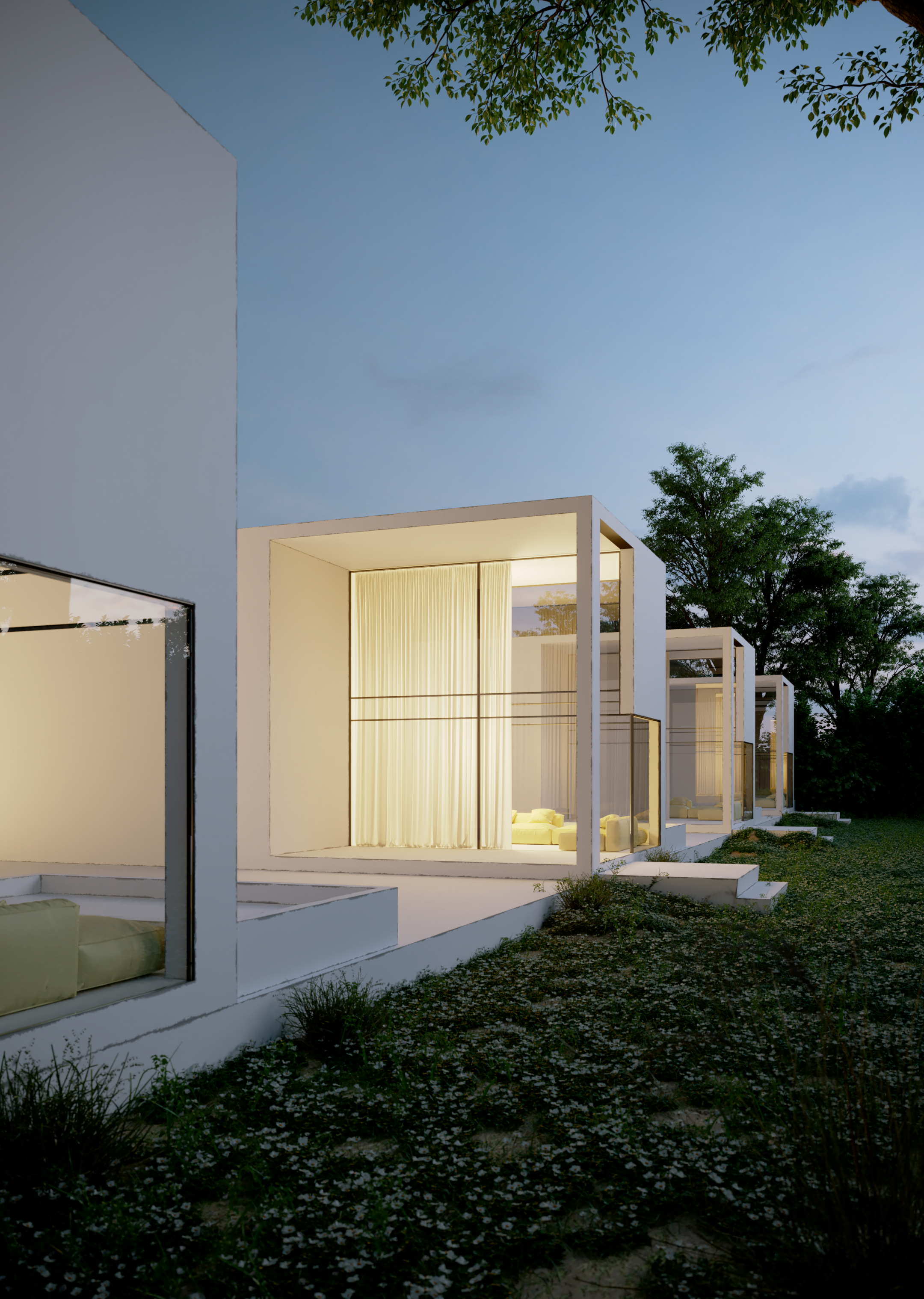 The white townhouse in 3d max corona render image