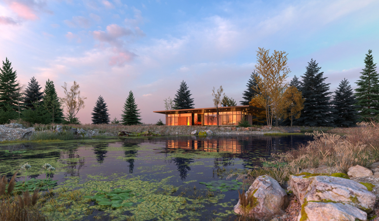Lake house in 3d max vray 3.0 image