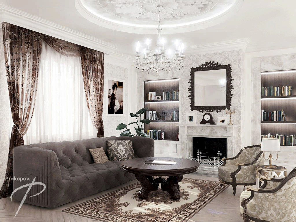 3d visualization living room in classic style in style antique for Living room cinema 4d