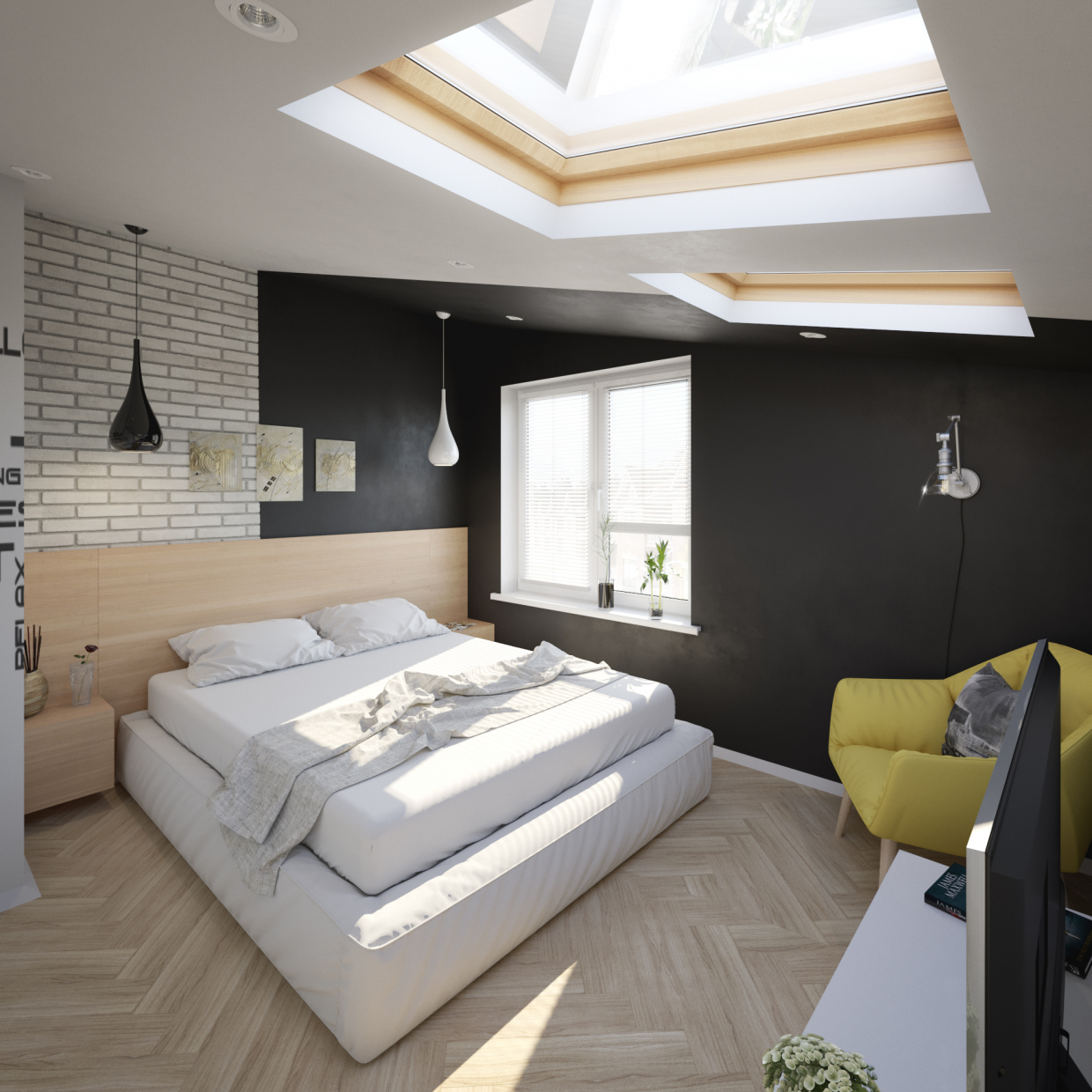Visualization of theq bedroom in 3d max corona render image