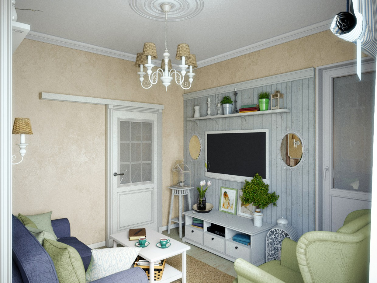 Nursery and living room in 3d max corona render image