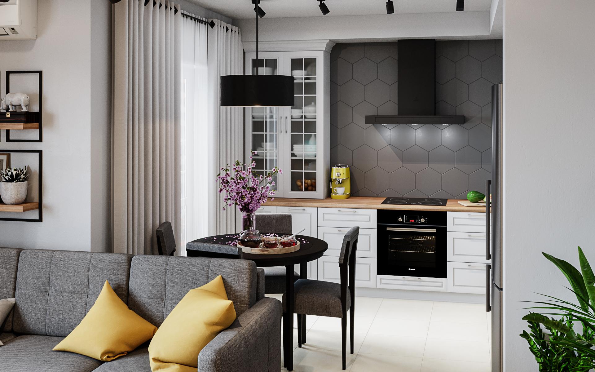 Kitchen hallway in 3d max corona render image