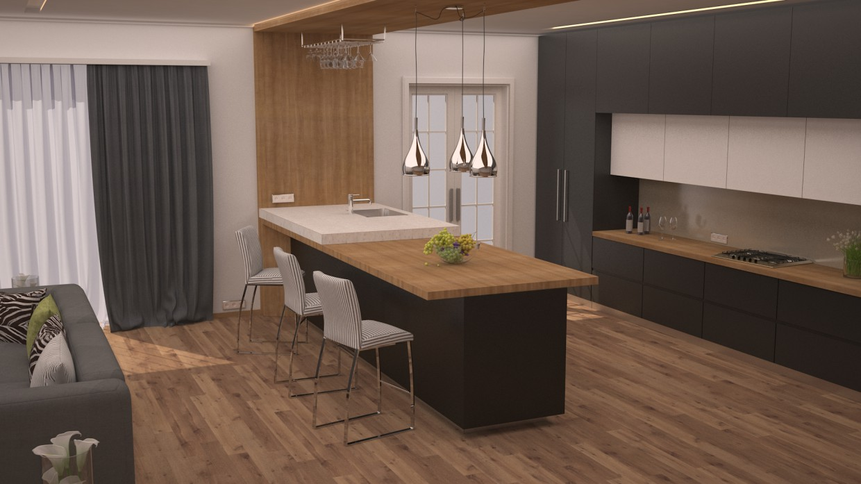 3d Visualization Kitchen Combined With Living Room