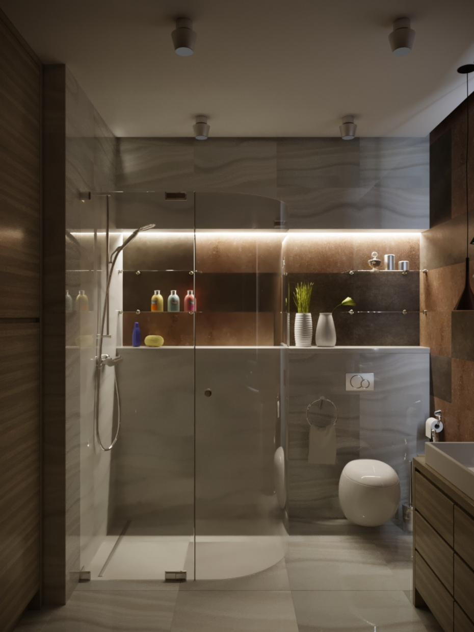 Shower and dressing room in 3d max corona render image