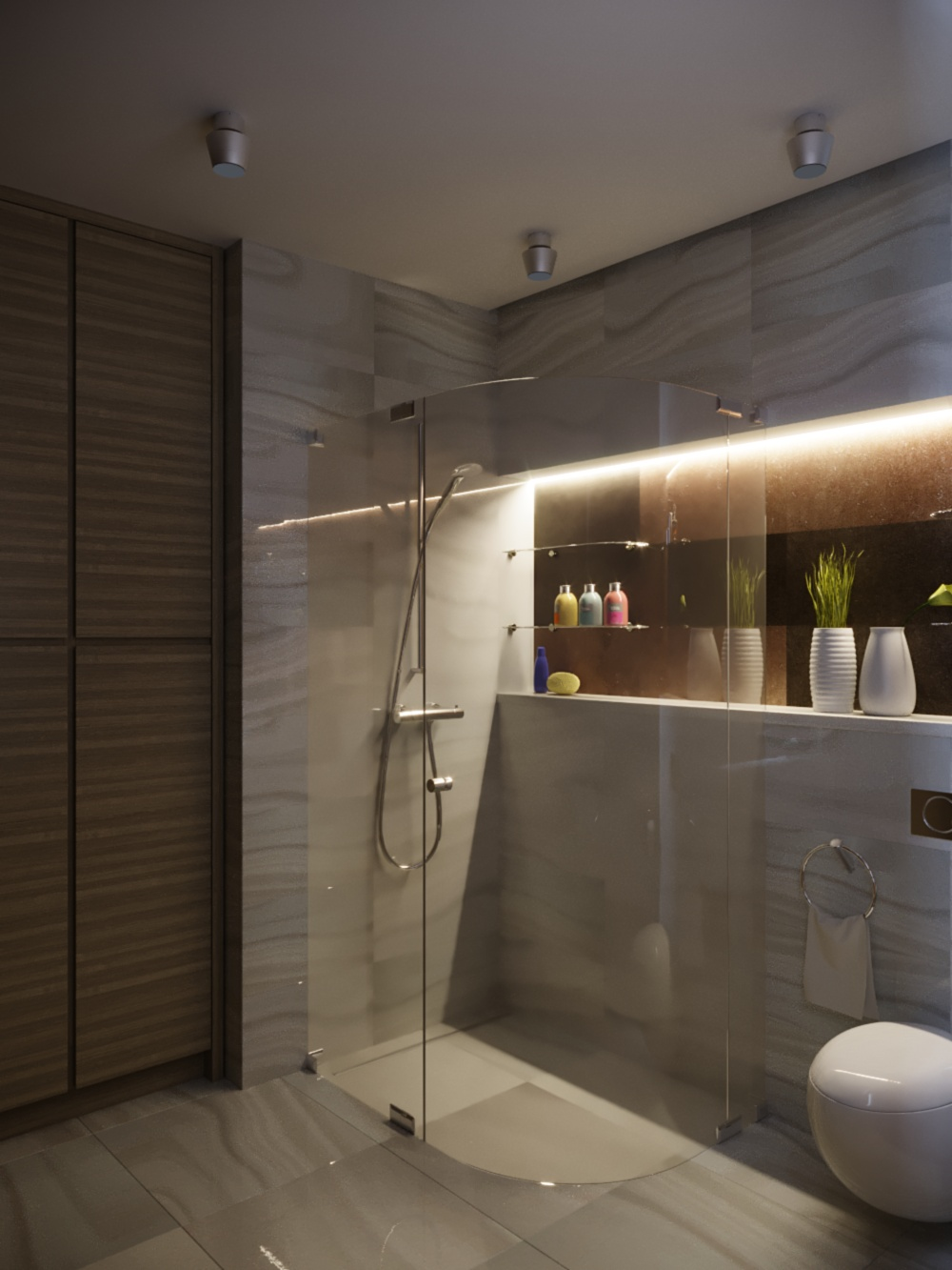 3D-visualization Shower and dressing room in style Constructionism