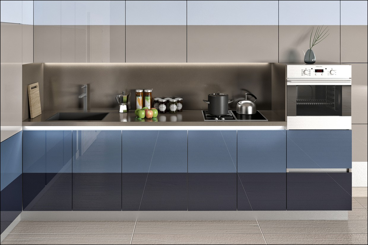 3d visualization of the project in the Kitchen 3d max, render vray of NewStyle