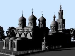 ricostruzione 3D della Cattedrale di San Basilio e la Chiesa della Trinità
