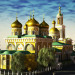 3d reconstruction of St. Basil's Cathedral and Trinity Church in Cinema 4d vray image