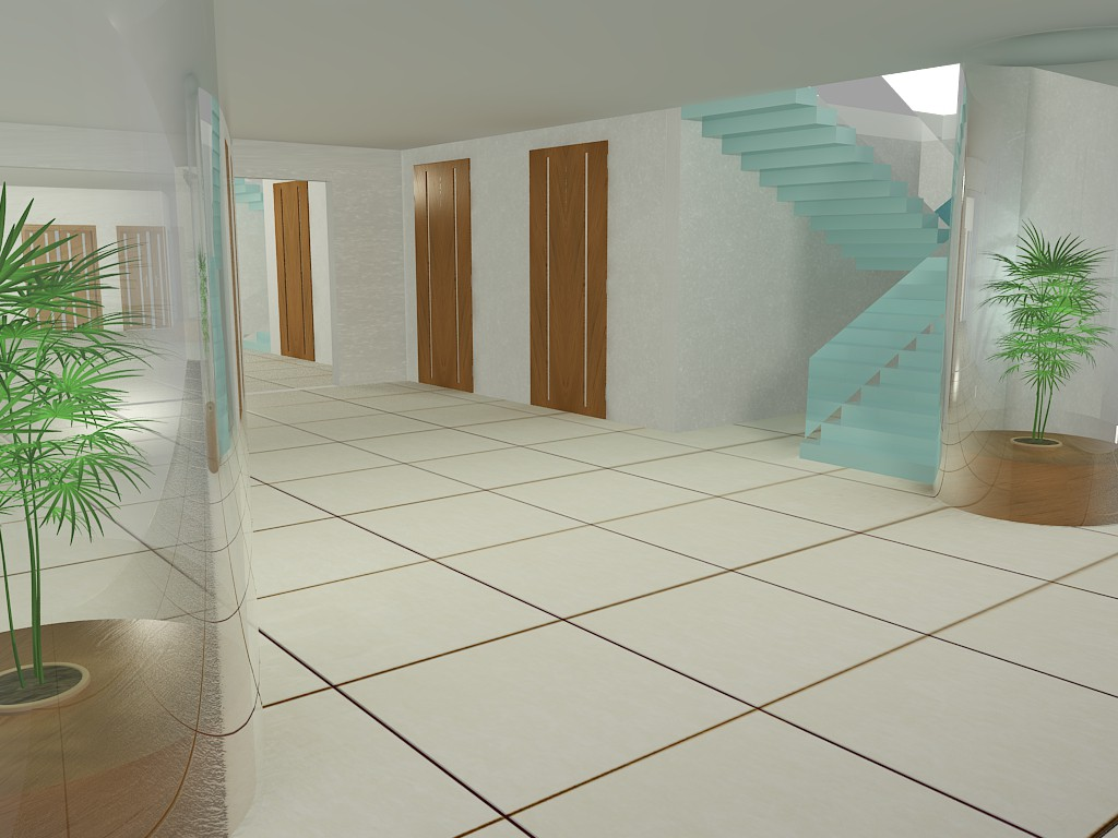 Hall of an administrative building in 3d max vray image