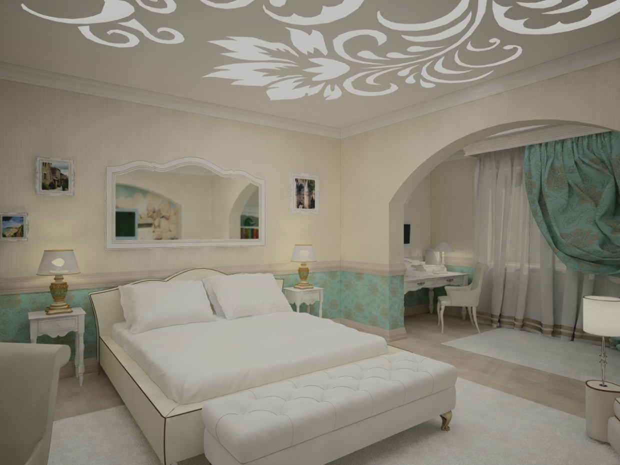 3d visualization of the project in the Bedroom 3d max, render vray of Василина