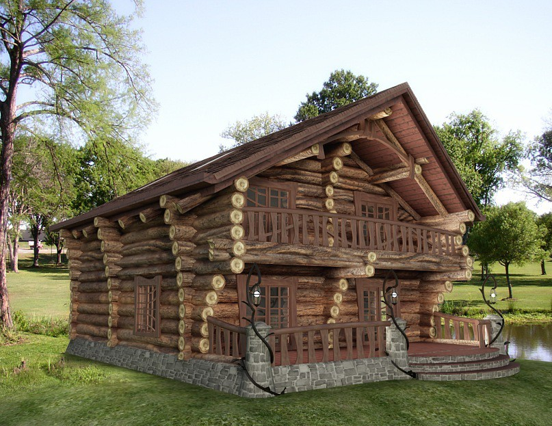 Bath. Log cabin  in  3d max   vray  image