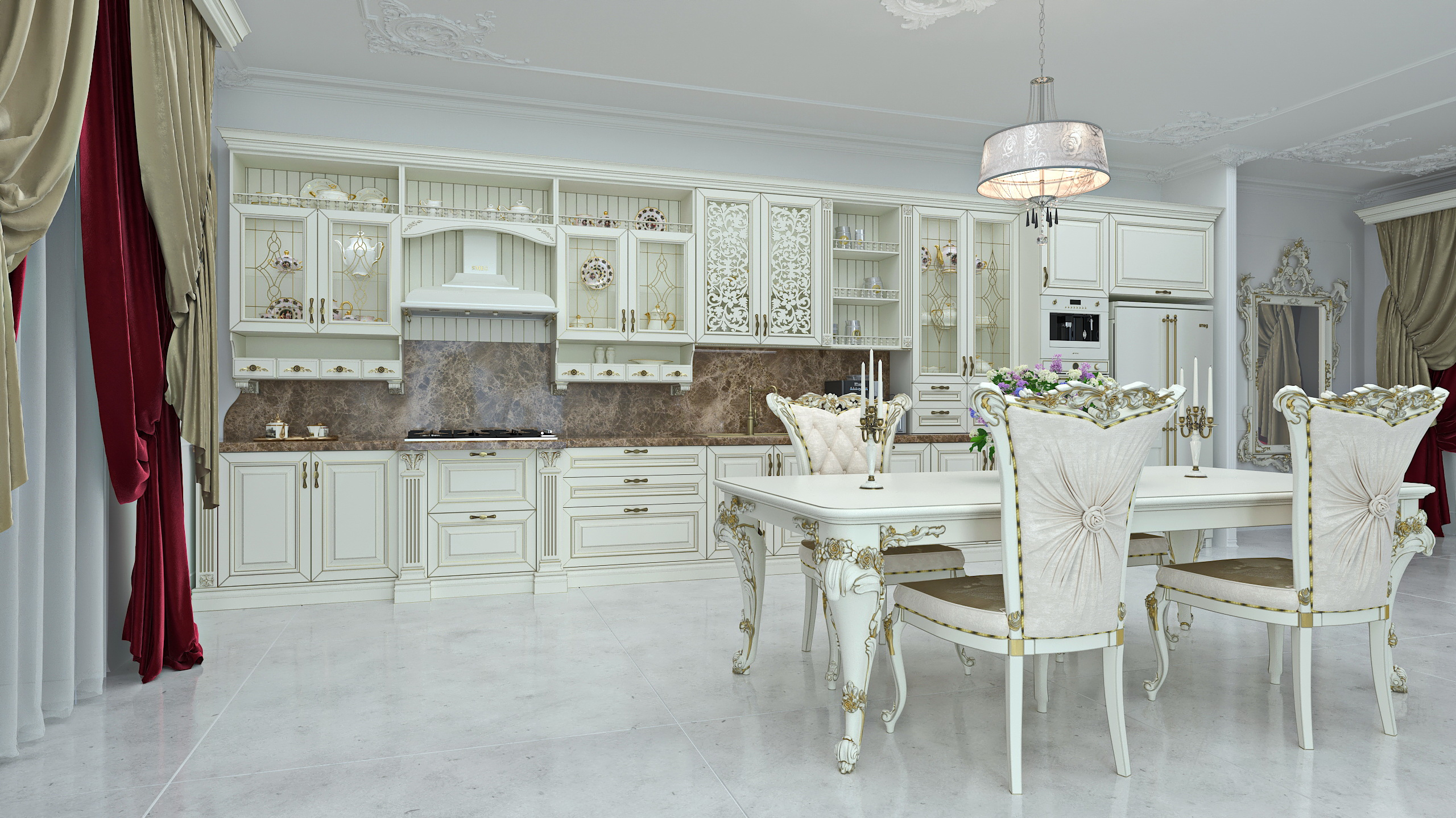 A cozinha em estilo clássico em SolidWorks vray 3.0 imagem
