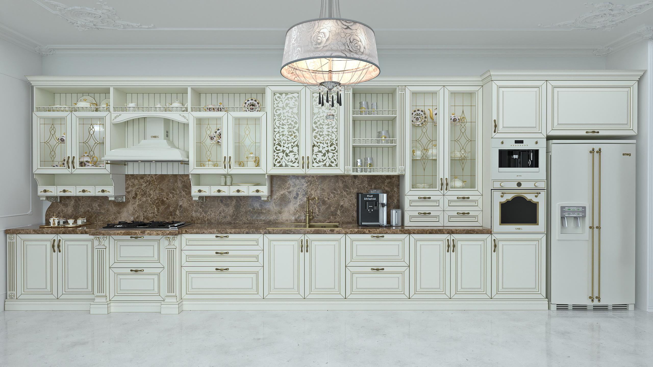 Visualização 3D do projecto no A cozinha em estilo clássico SolidWorks , processar vray 3.0 Дмитрий Гальцов