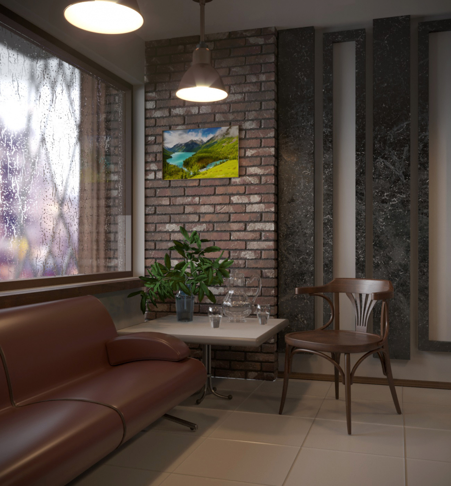 Rainy day in cafe in 3d max corona render image