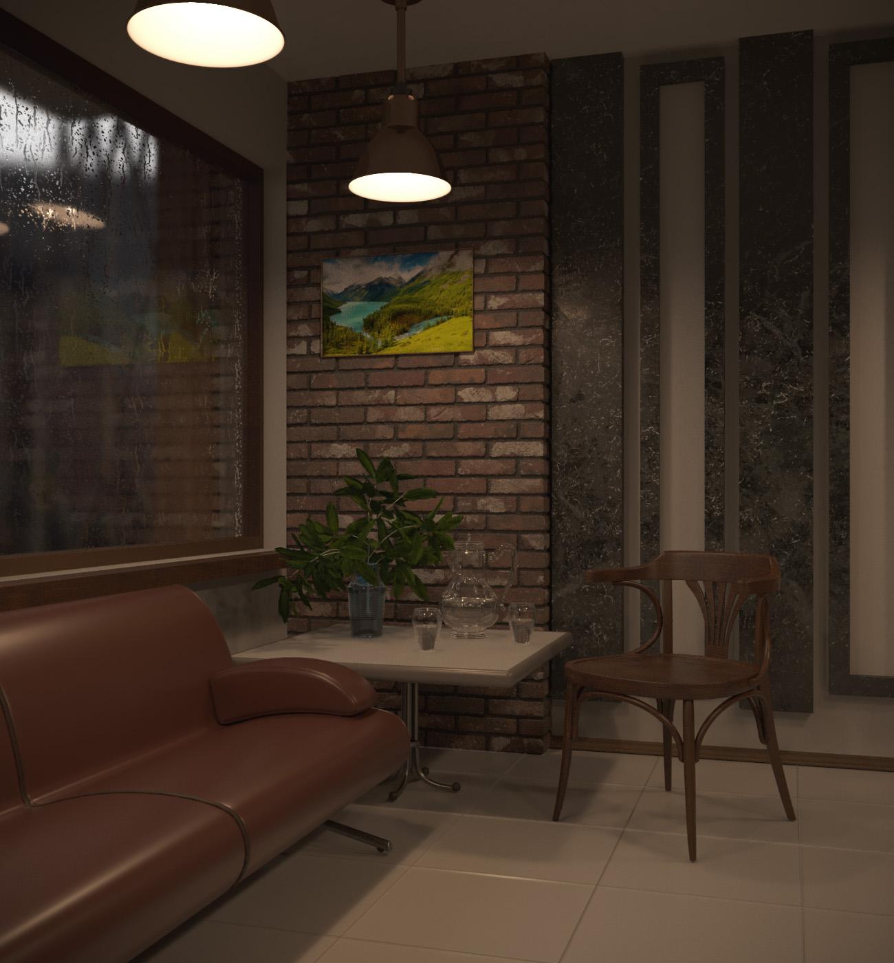 कैफे में बारिश का दिन 3d max corona render में प्रस्तुत छवि