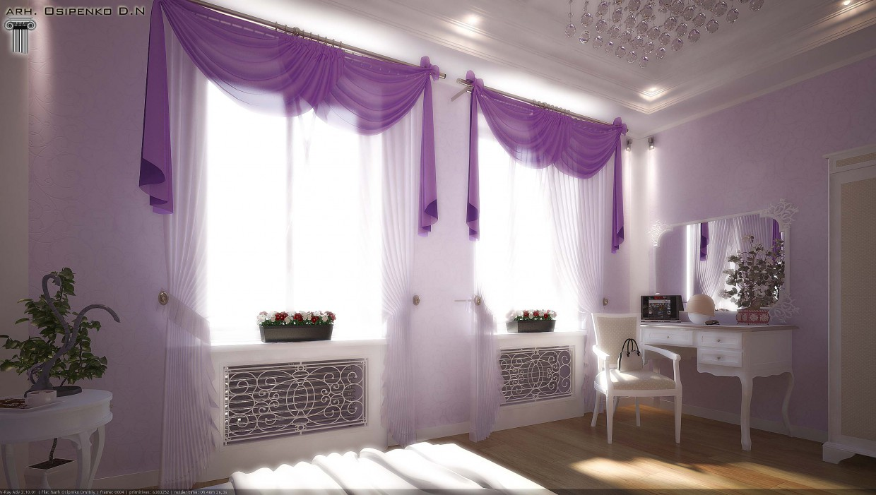 Bedroom for a girl in 3d max vray image