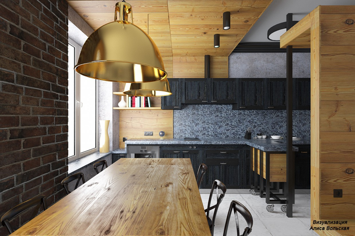 3d visualization of the project in the Kitchen-dining room 3d max, render vray 3.0 of Алиса Вольская