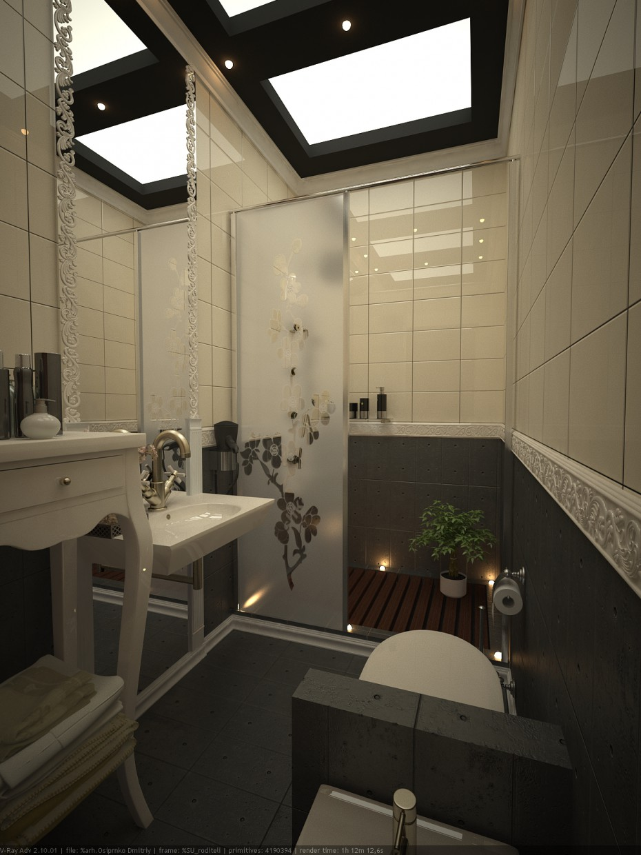 Bathroom next to bedroom  in  3d max   vray  image