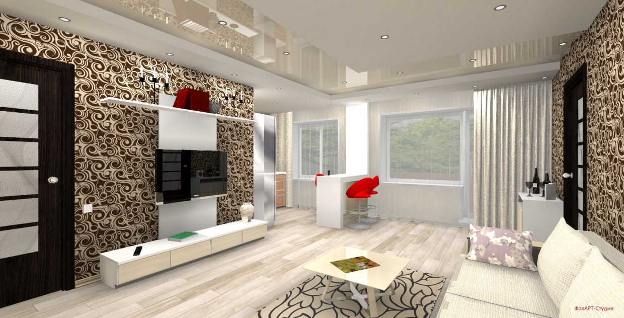 3d visualization of the project in the two-roomed Khrushev flat-studio 3d max, render FinalRender of Фолин Алексей