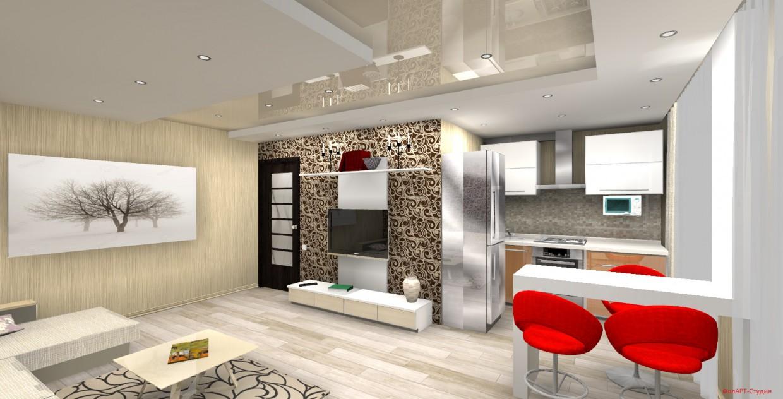 2х-комнатная хрущевка-студия в 3d max FinalRender изображение
