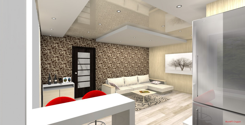 2х-кімнатна хрущовка-студія в 3d max FinalRender зображення