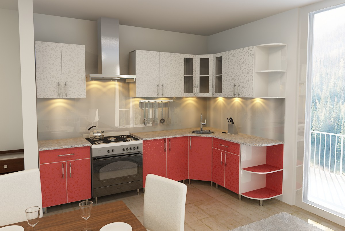 Kitchen RED in 3d max vray image