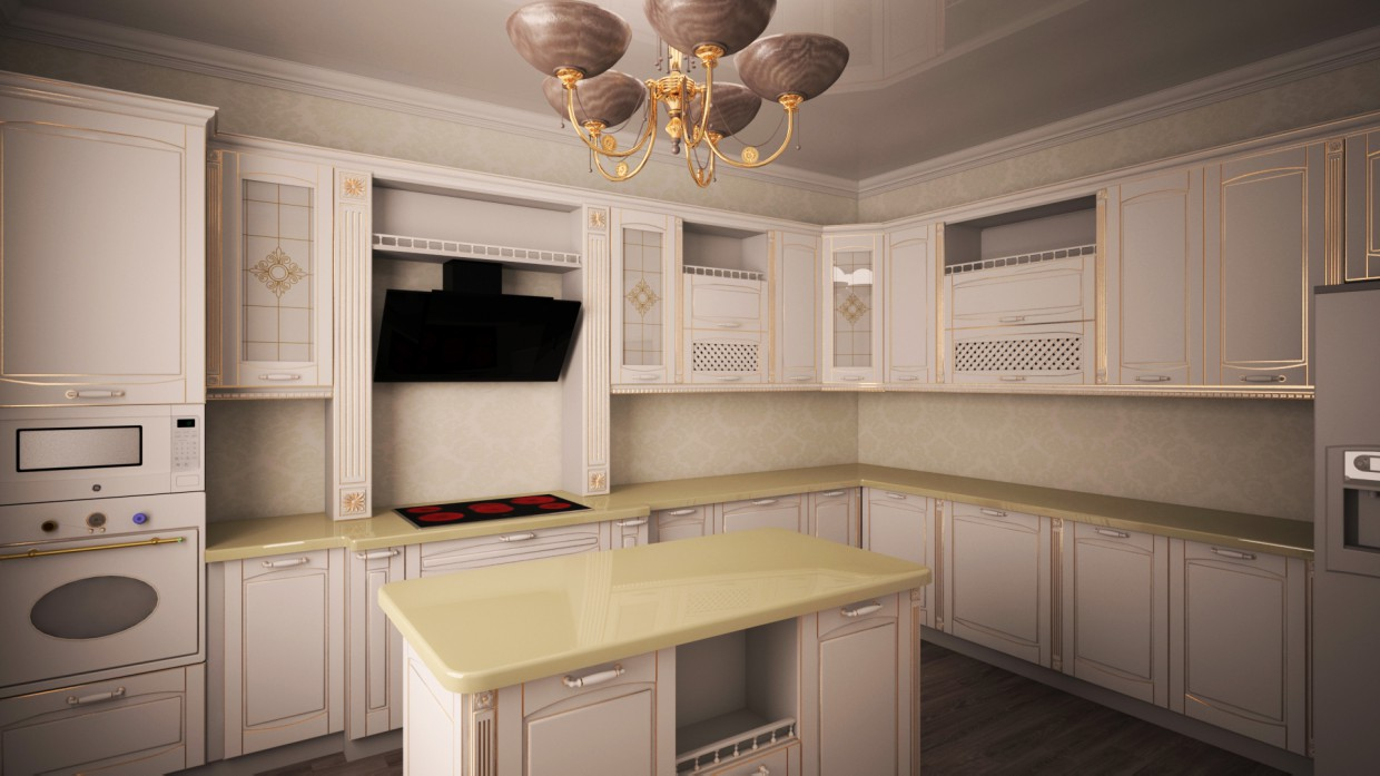 3d visualization of the project in the Classic kitchen 3d max, render vray 2.5 of МАКСИМ74