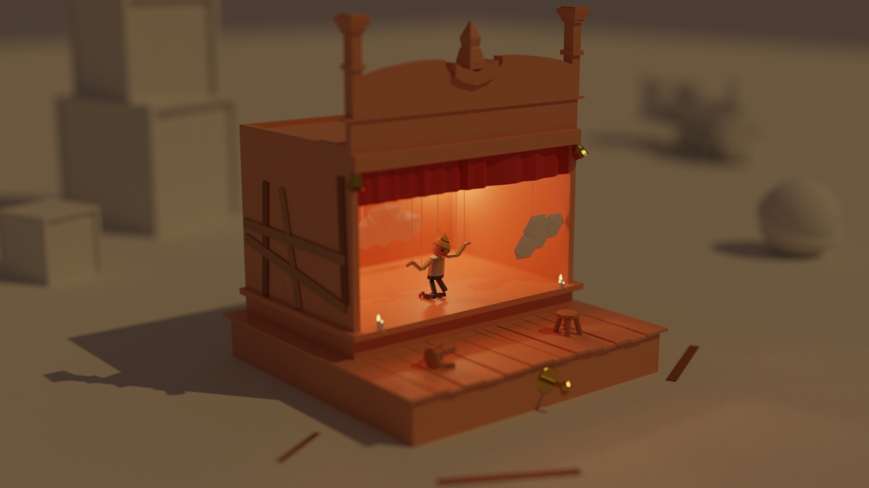 Low poly illustration in Blender cycles render image
