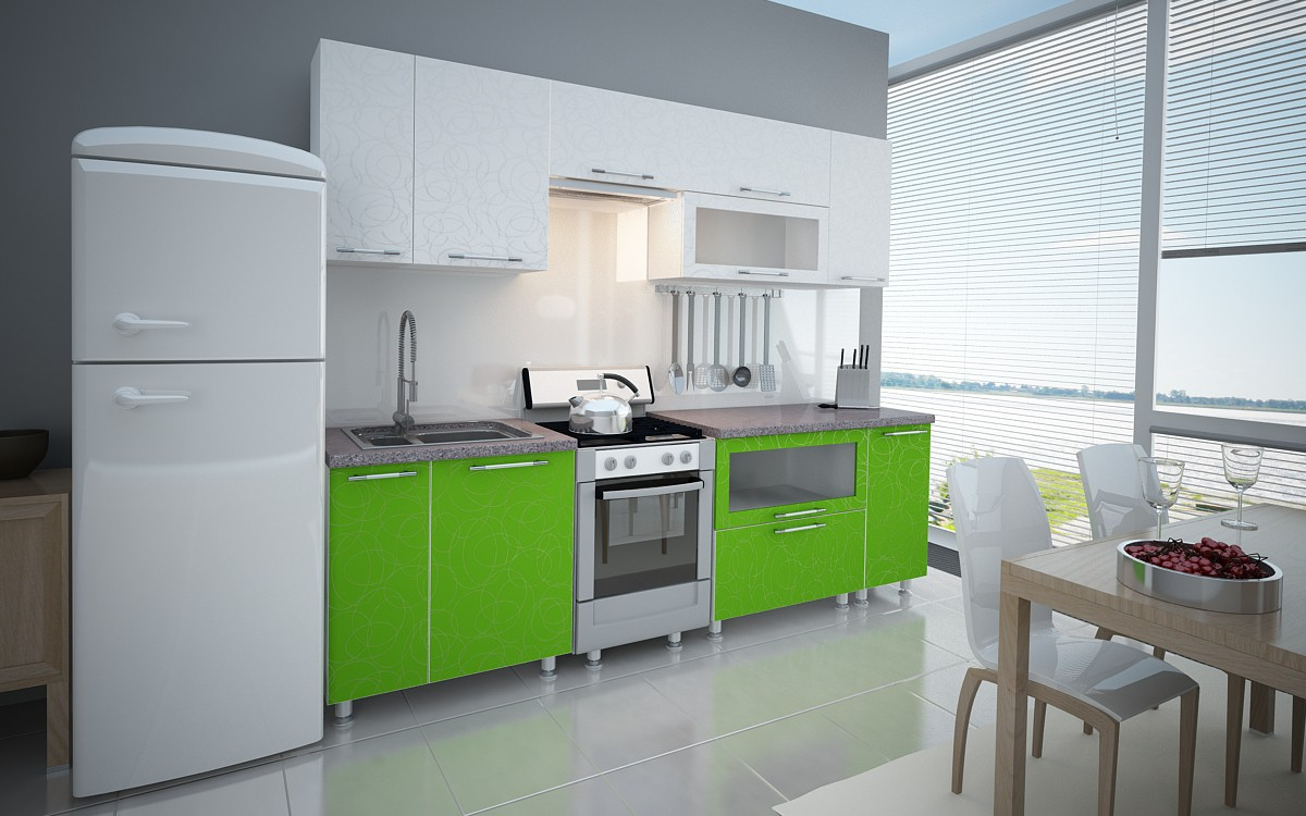 Kitchen GREEN in 3d max vray image