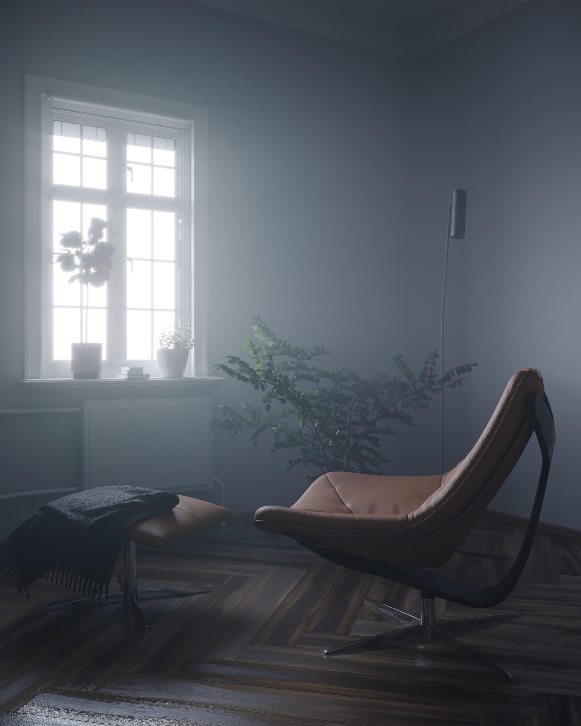 इंटीरियर का कलात्मक दृश्य। 3d max corona render में प्रस्तुत छवि