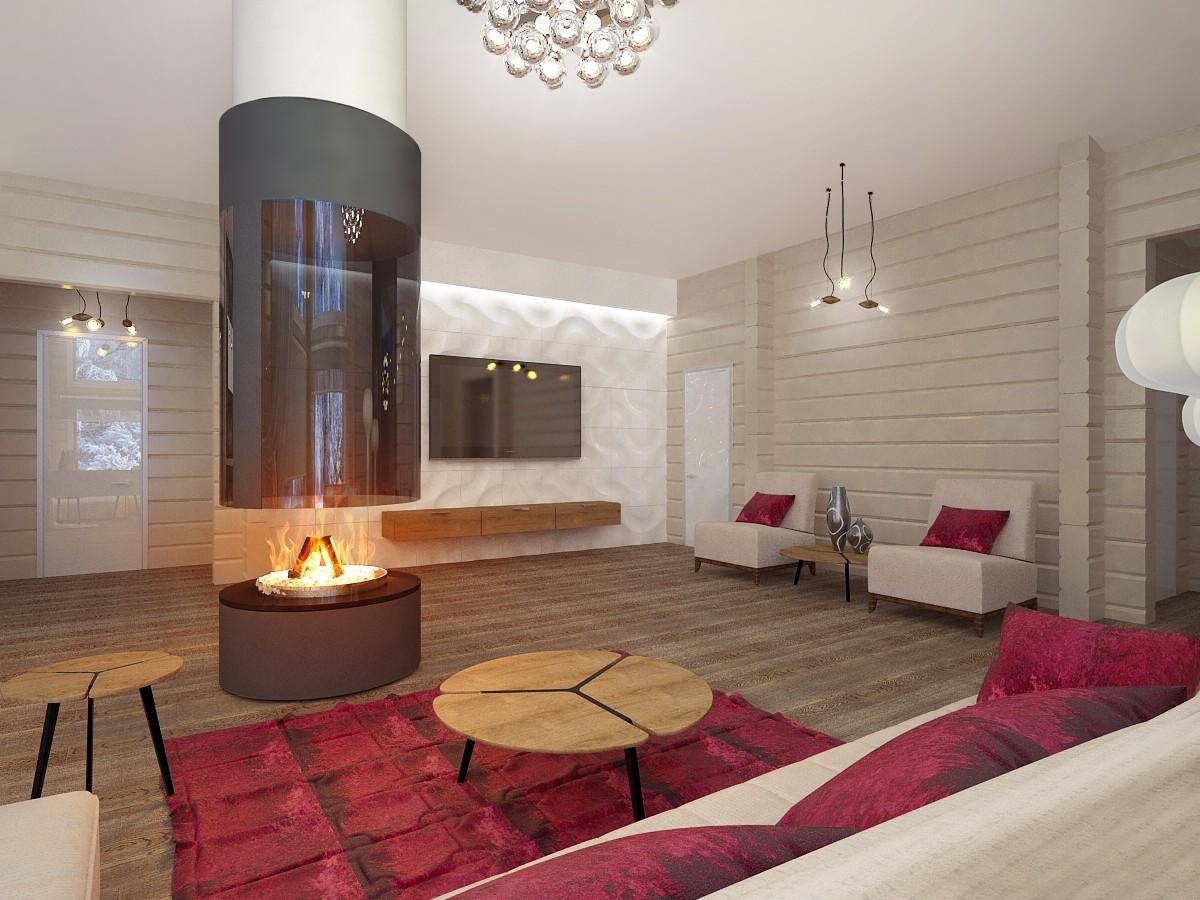 Інтер'єр одноповерхового будинку з бруса в 3d max vray зображення