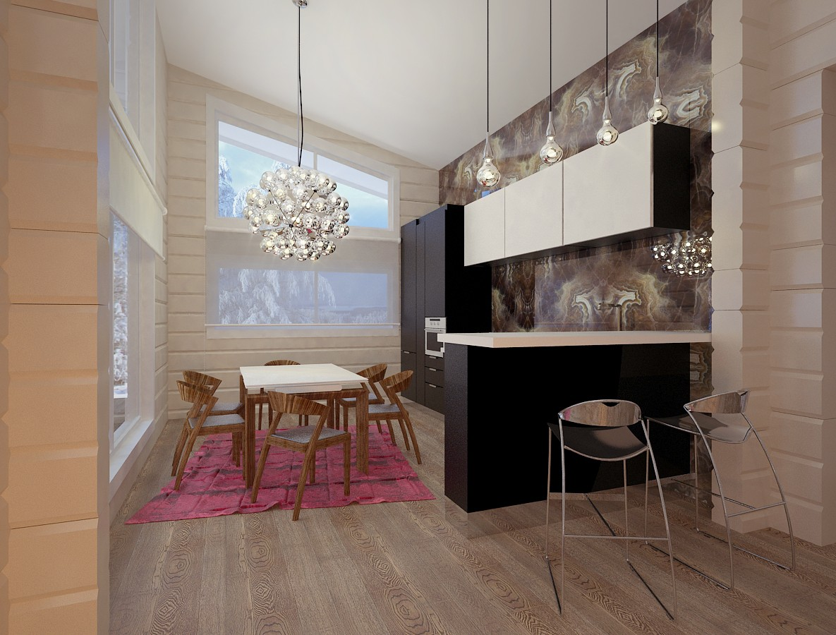 The Interior of the single-storey houses made of lumber in 3d max vray image