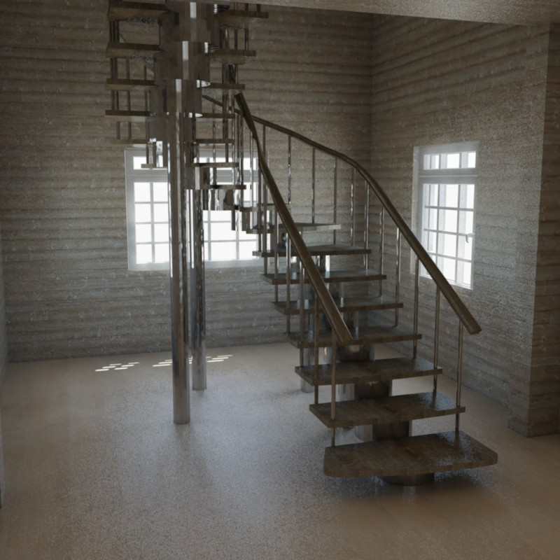 Stairs in a country house in 3d max mental ray image