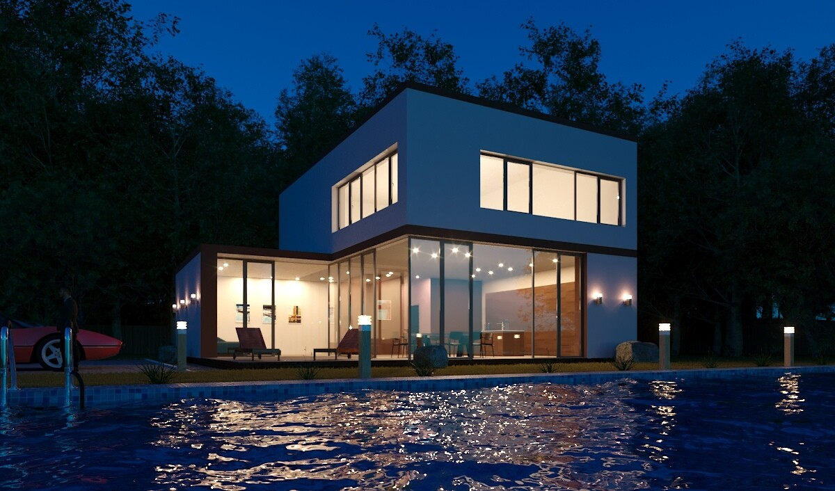 Hi-tech home visualization in 3d max corona render image
