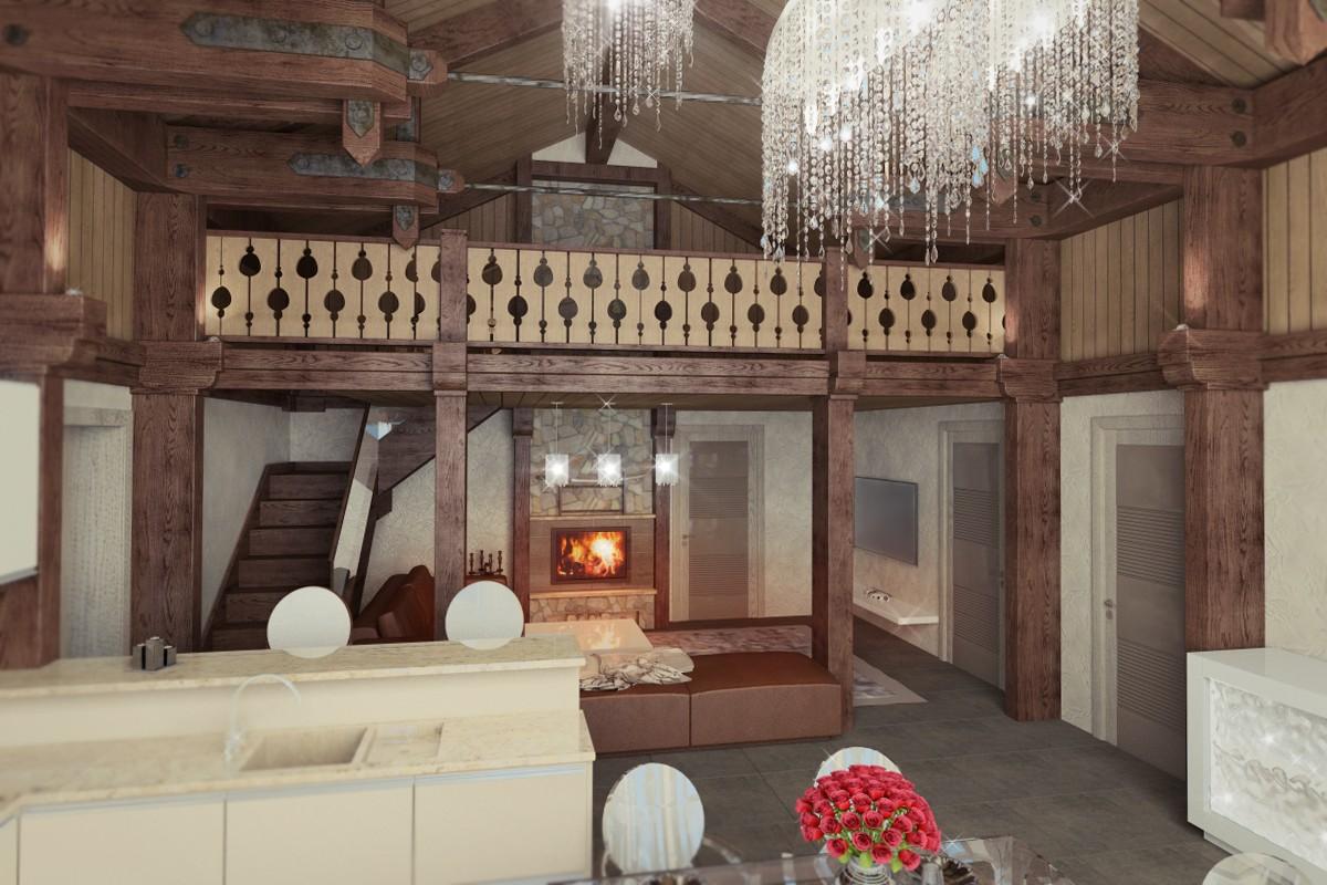 Коттедж в стиле гламурного шале в 3d max vray изображение