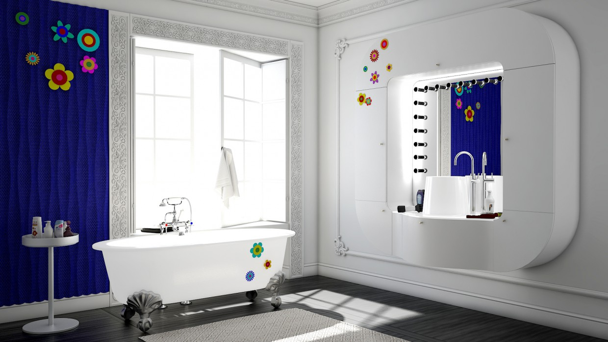 Bathroom, contrast in Maya vray 3.0 image