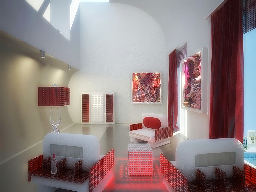 3d visualization of the project in the for Simone Mikele Cinema 4d, render vray of elementa